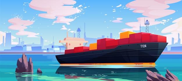Frachtschiff in der seehafen-dockillustration Kostenlosen Vektoren