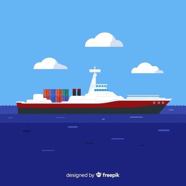 Frachtschiff-marinetechnikkonzept Kostenlosen Vektoren