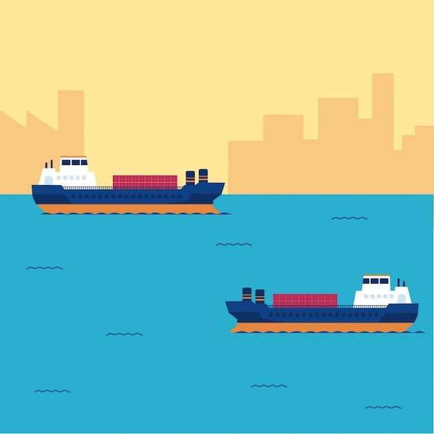Frachtschiffbehälter im seetransport Premium Vektoren