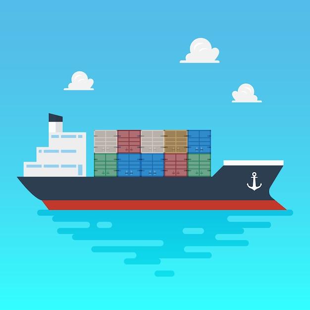 Frachtschifffahrt mit containern flachen stil Premium Vektoren