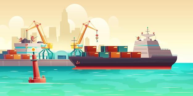 Frachtschiffladen in der hafenkarikaturillustration Kostenlosen Vektoren
