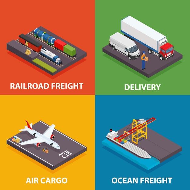 Frachttransport einschließlich see- und eisenbahnfracht, luftfracht, lkw Premium Vektoren
