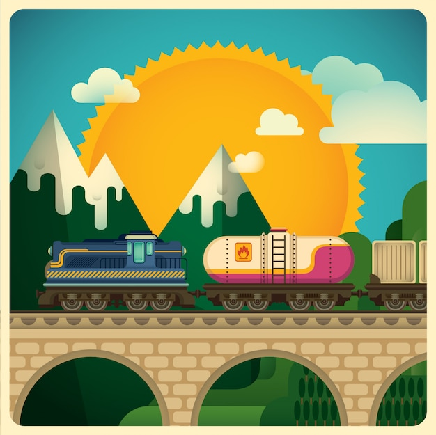 Frachttransportabbildung Premium Vektoren