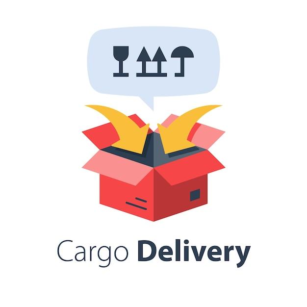 Frachtverpackung und -verteilung, umzugsservice, frachttransport, frachtversand, lieferunternehmen, flache abbildung Premium Vektoren