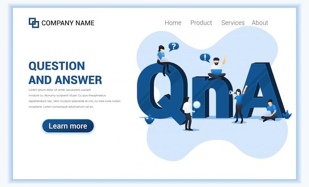 Frage-und-antwort-konzept mit menschen arbeiten in der nähe von großen qna-symbol. Premium Vektoren