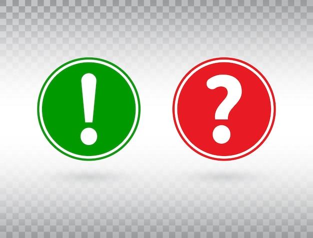 Fragezeichen und ausrufezeichen gesetzt. hilfeschild und warnsymbol. roter und grüner kreis mit aufmerksamkeitsknopf und fragezeichen. Premium Vektoren