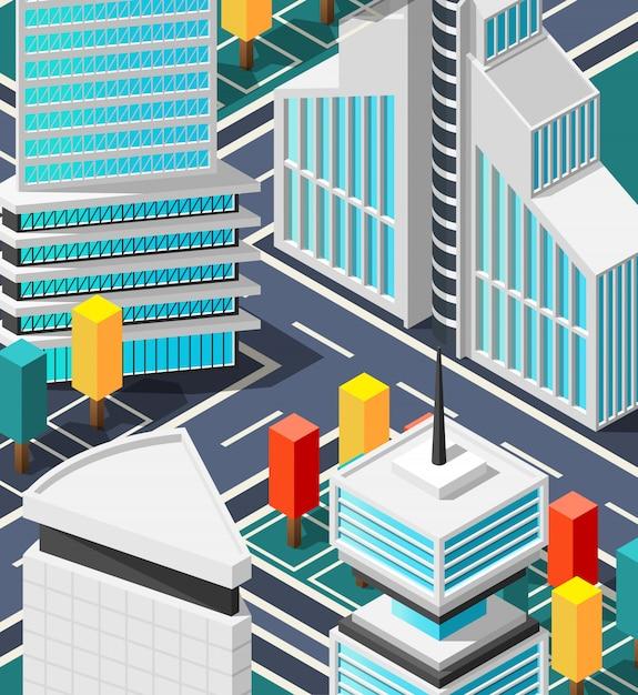 Fragment der futuristischen stadtlandschaft Kostenlosen Vektoren