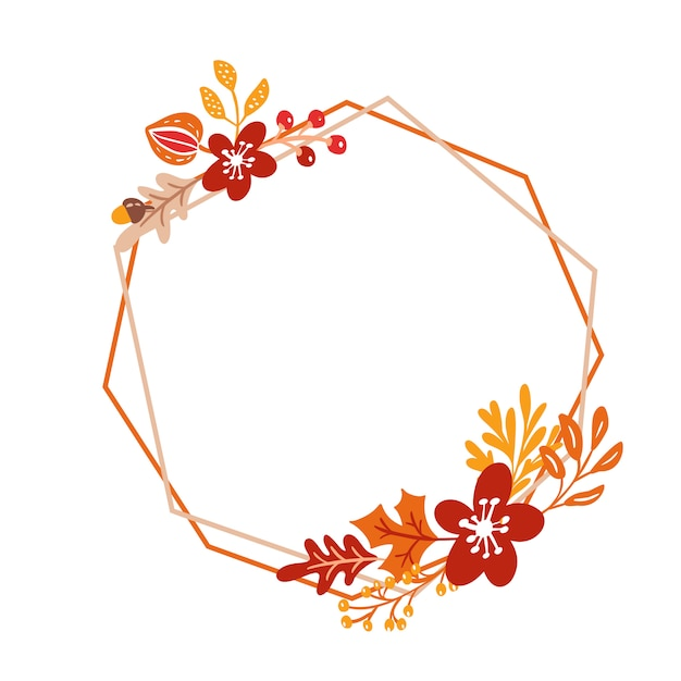 Frame herbst bouquet kranz mit orangenblättern und beeren, isoliert auf weiss Premium Vektoren