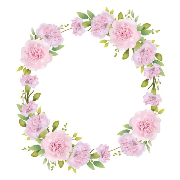 Frame hintergrund floral mit rosa nelken Premium Vektoren
