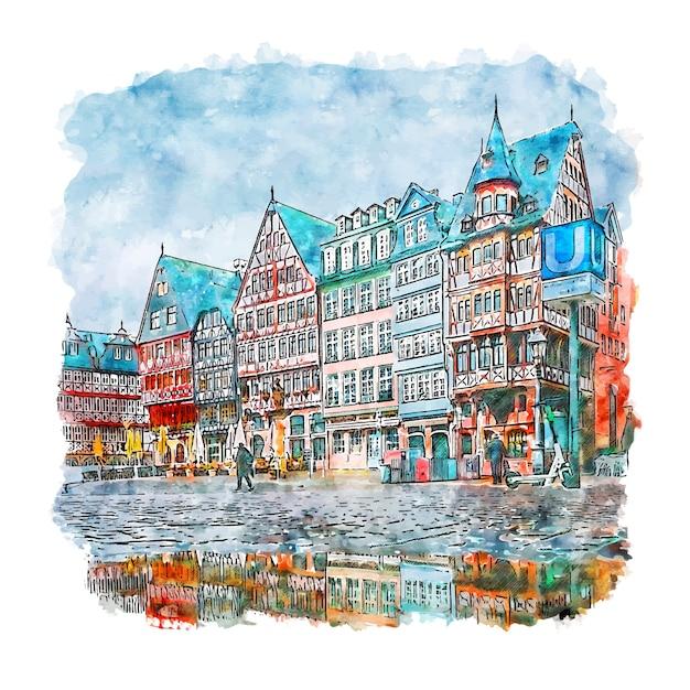 Frankfurt deutschland aquarell skizze hand gezeichnete illustration Premium Vektoren