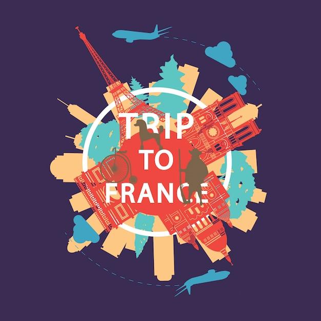 Frankreich berühmte wahrzeichen silhouette overlay-stil Premium Vektoren
