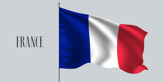 Frankreich, das flagge auf fahnenmastillustration schwenkt Premium Vektoren