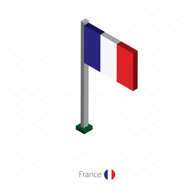 Frankreich flagge auf fahnenmast in isometrischer dimension. Premium Vektoren