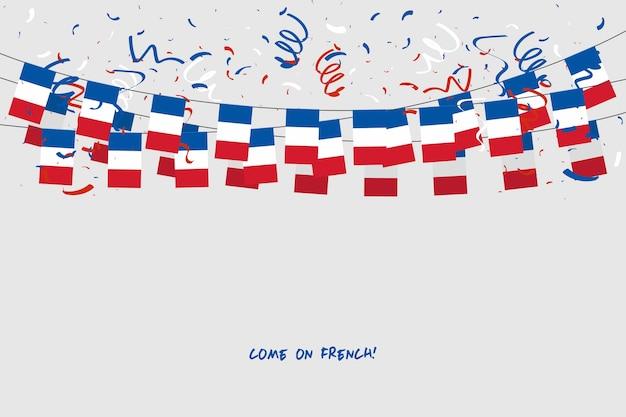 Frankreich-girlandenflagge mit konfettis auf grauem hintergrund. Premium Vektoren