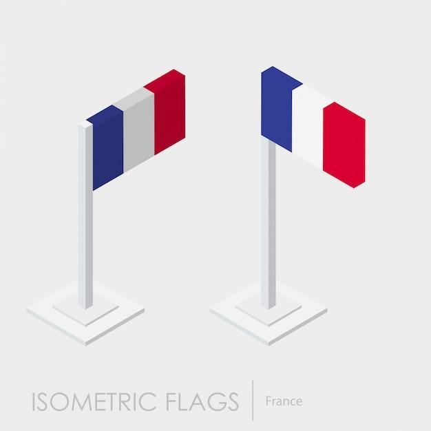 Frankreich isometrische flagge Kostenlosen Vektoren