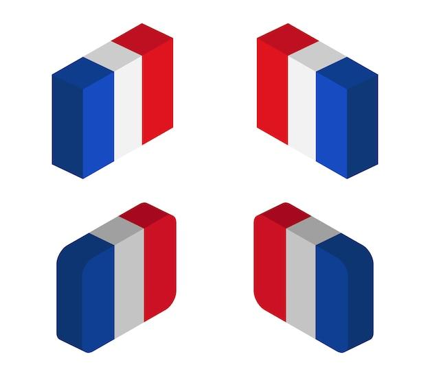 Frankreich isometrische flaggen gesetzt Premium Vektoren