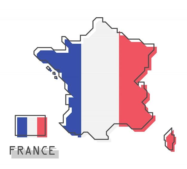 Frankreich karte und flagge Premium Vektoren