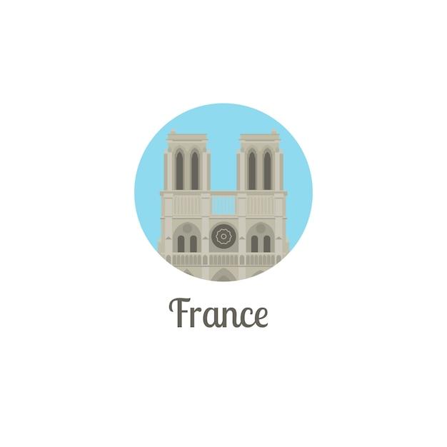 Frankreich notre dame wahrzeichen runde symbol Premium Vektoren