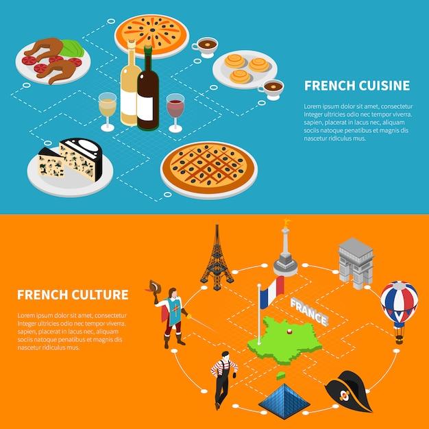 Frankreich tourismus isometrische banner Kostenlosen Vektoren