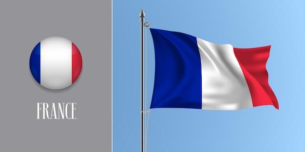 Frankreich weht flagge am fahnenmast und rund Premium Vektoren