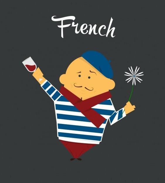 Französisch man wohnung illustration Kostenlosen Vektoren