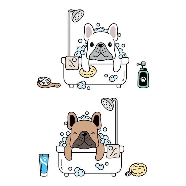 Französische bulldogge duschbad symbol karikaturillustration des hundecharakters Premium Vektoren