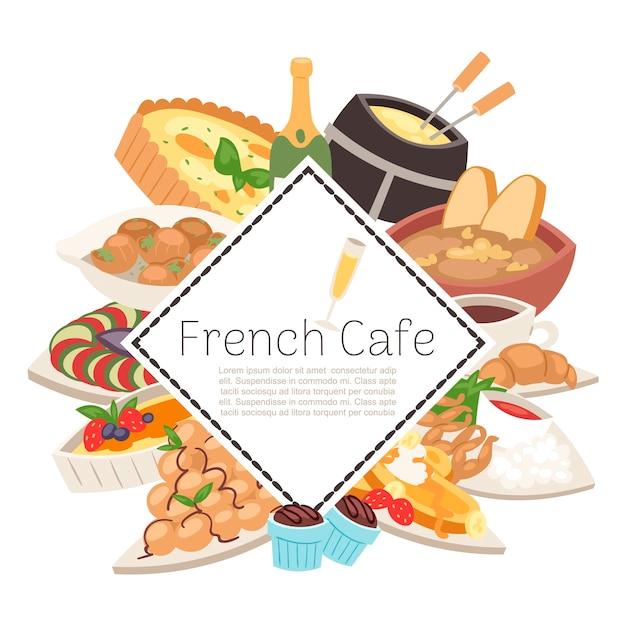Französische cafélebensmittelmenü-darstellungsschablone Premium Vektoren