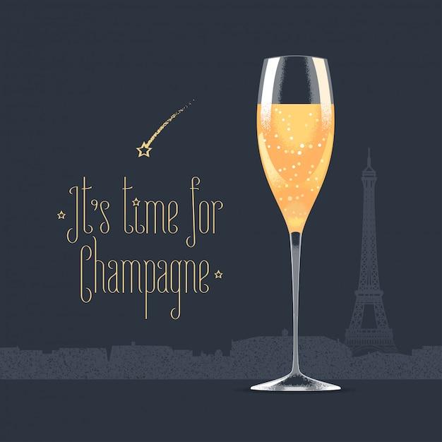 Französischer eiffelturm und glas champagnerillustration Premium Vektoren