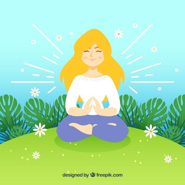 Frau achtsamkeit meditation hintergrund Kostenlosen Vektoren