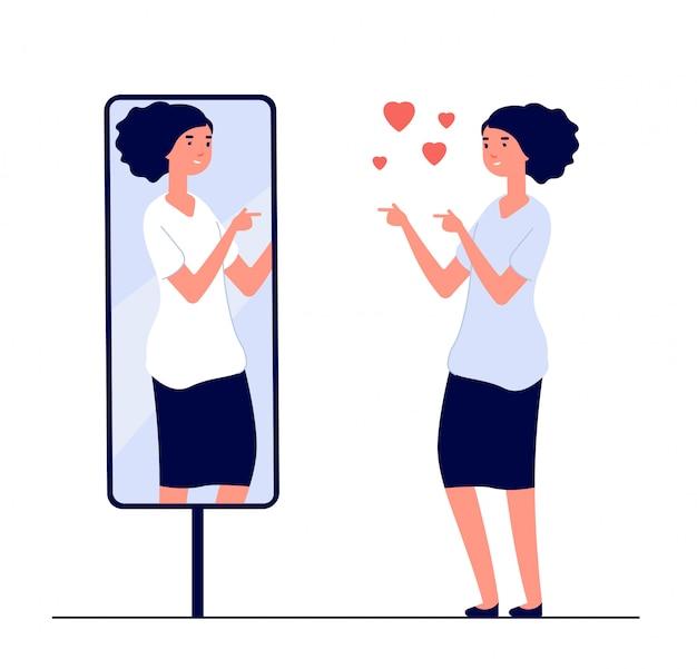 Frau am spiegel. gespiegeltes glückliches mädchen. karikatur reflektierte schönen weiblichen narzissmus und liebe des selbstvektorkonzepts Premium Vektoren