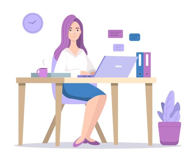Frau an der computerillustration Kostenlosen Vektoren