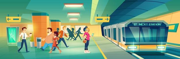 Frau an der metrostationfahne Kostenlosen Vektoren