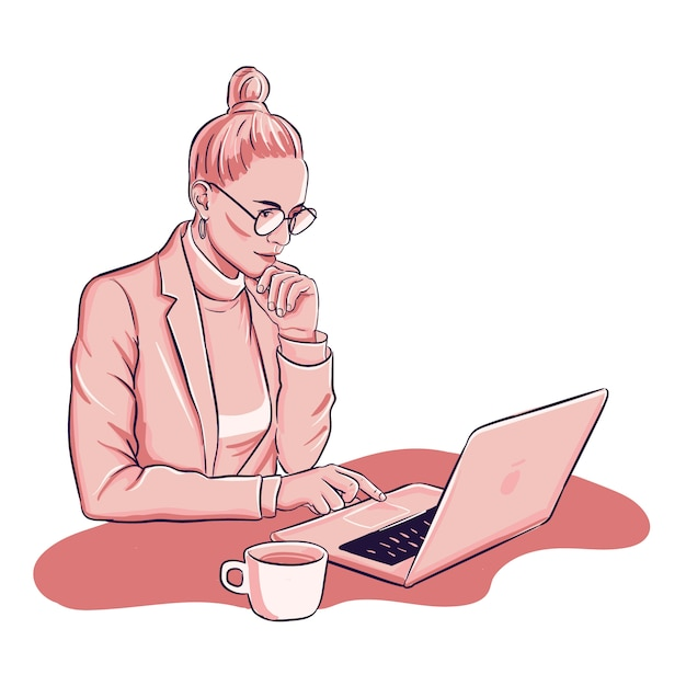 Frau arbeitet am laptop deinking kaffeetasse Kostenlosen Vektoren