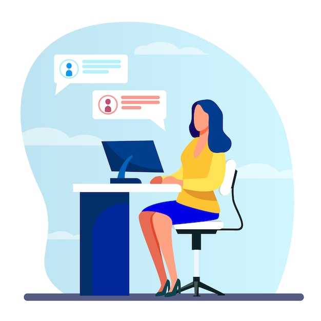 Frau arbeitet, tippt und sendet nachrichten Kostenlosen Vektoren