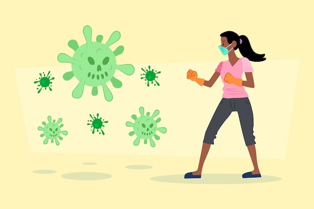 Frau bekämpft das viruskonzept Kostenlosen Vektoren