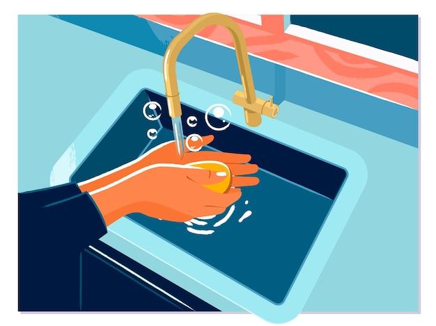 Frau benutzen seife und händewaschen unter dem wasserhahn Premium Vektoren