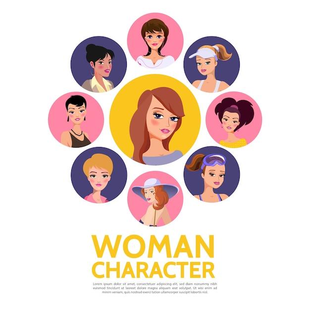 Frau charaktere avatare vorlage Kostenlosen Vektoren