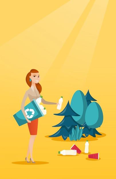 Frau, die abfall im wald sammelt. Premium Vektoren