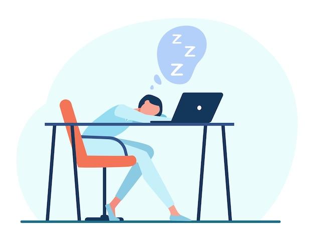 Frau, die am tisch mit laptop schläft. karikaturillustration Kostenlosen Vektoren