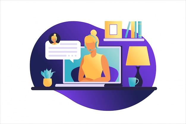 Frau, die am tisch mit laptop sitzt. arbeiten an einem computer. freiberufliche, online-bildung oder social-media-konzept. von zu hause aus arbeiten, remote-job. flacher stil. vektorillustration. Premium Vektoren
