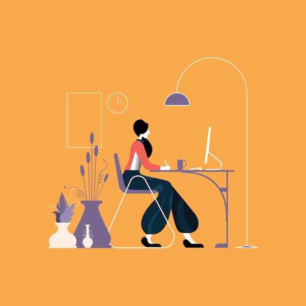 Frau, die an einem desktop am bürotisch arbeitet Premium Vektoren