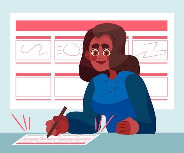 Frau, die an einem storyboard arbeitet Kostenlosen Vektoren