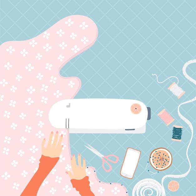Frau, die an einer Nähmaschine näht   Download der kostenlosen Vektor