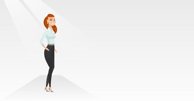 Frau, die auf brücke während der modeschau aufwirft. Premium Vektoren