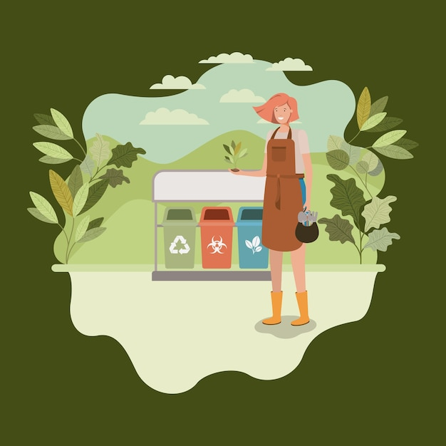 Frau, die baum im park mit papierkörben pflanzt Premium Vektoren