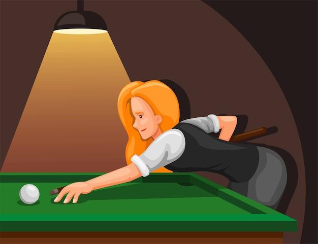 Frau, die billard spielt. professioneller billardspieler mit dem ziel, den ball aus dem seitenansicht-konzept zu schießen Premium Vektoren