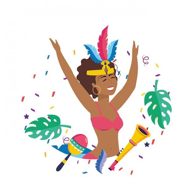 Frau, die brasilien-karnevalsvektorillustration feiert Premium Vektoren