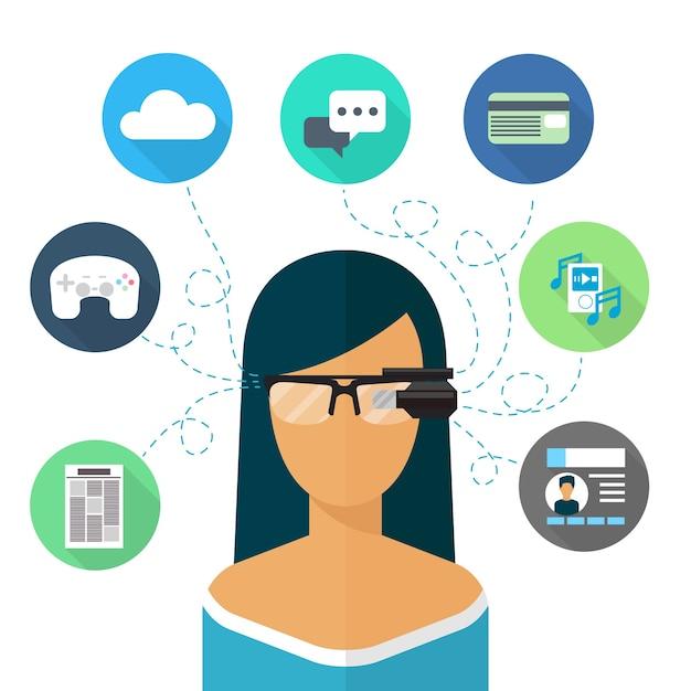Frau, die brille augmented reality trägt. virtuelles internet, kommunikation und musik, chat und online-shopping Kostenlosen Vektoren
