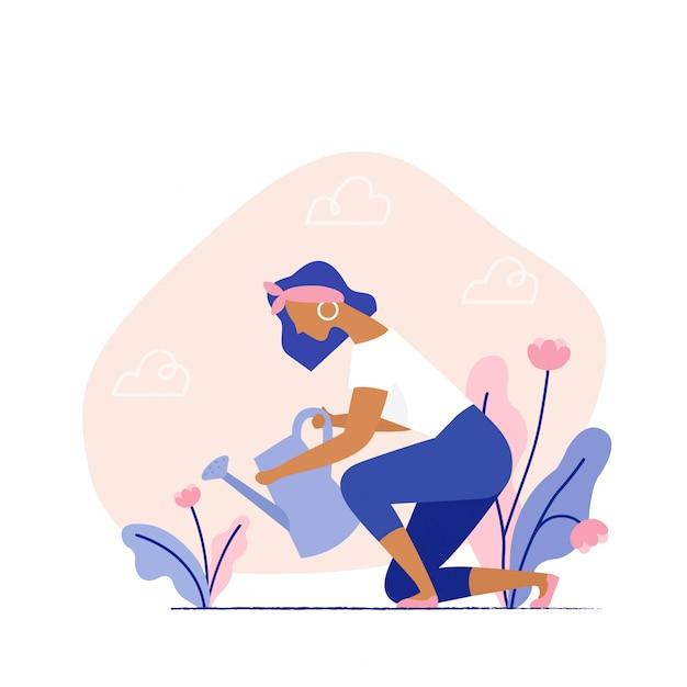 Frau, die eine anlage wässert. gartenpflanzen der weiblichen figur auf dem hinterhof. sommergarten, bauer gärtner. flache vektor-illustration. Premium Vektoren