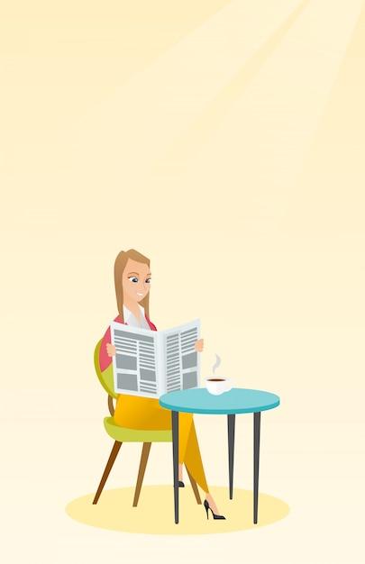Frau, die eine zeitung liest und kaffee trinkt. Premium Vektoren